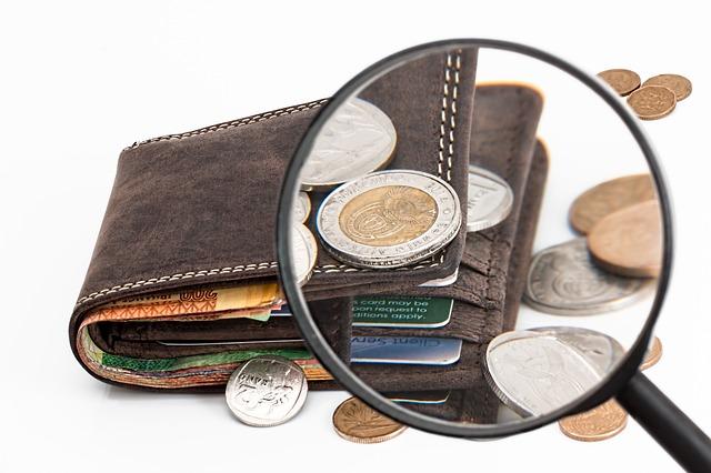 peněženka a drobné