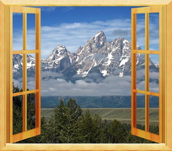Otvorené okno, krásny výhľad, hory, príroda