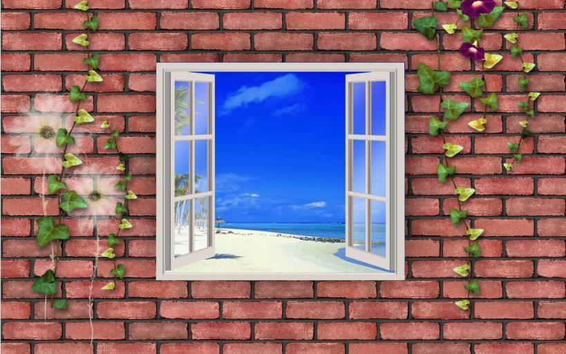 Okno otvorené dokorán, múr, tehly